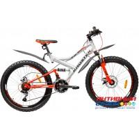 """Велосипед KROSTEK JETT 405 (24"""", 18 скор.) (Р-р= 14"""", Цвет: Серебро/оранжевый) Рама сталь"""
