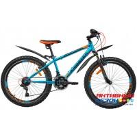 """Велосипед KROSTEK KRAFT 400 (24"""", 18 скор.) (Р-р= 14"""", Цвет: Синий металлик) Рама сталь"""
