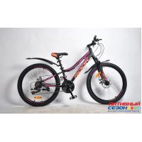 """Велосипед Rook MА240DW (24"""" 21 скор.) (Цвет: черный/розовый) Рама сталь"""