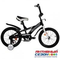 """Велосипед детский 16"""" BMW с багажником (черно - белый)"""