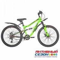 """Велосипед RUSH HOUR FS 475 DISC ST (24"""" 6 скор) (Р-р14"""", Цвет зеленый, оранжевый) Рама Сталь"""