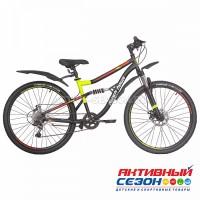 """Велосипед RUSH HOUR FS 805 DISC ST (26"""" 6 скор) (Р-р16"""", Цвет желтый) Рама Сталь"""