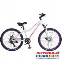 """Велосипед TechTeam Elis (24"""", 7 скор.) (Р-р= 13"""", Цвет: Фиолетовый, Белый) Рама алюминий"""