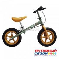 Беговел Vector (накл.,ручной тор., рег.руль и сид.,колеса резина -30см, макс.нагр.30кг), (Indigo) зеленый-бежевый