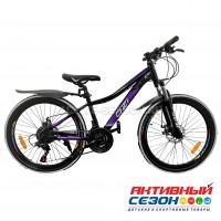 "Велосипед OZI (24"", 21 скор.) (р-р 13; Цвет: черно-фиолетовый) S2403DW"