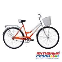 """Велосипед Кумир - 28 с корзиной (28"""", 1 скор.) (Цвет: Светло-оранжевый, Морская волна, Синий, Красный) Рама Сталь"""